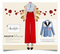 Necktie blouse II by malinkova on Polyvore featuring moda, Gucci, Aquazzura, Casetify, fallfashion and falltrend