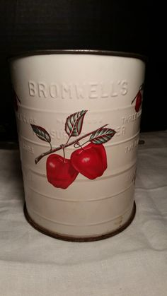 Bromwells Sifter with Red Apples and Black Turn Handle Cream Colored Sifter with Red Apples 3 cup Sifter