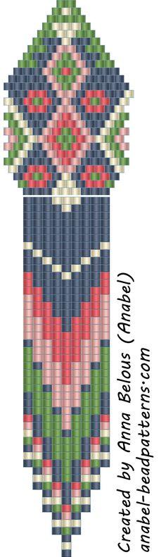 Схемы бисерных сережек с бахромой - мозаичное / кирпичное плетение