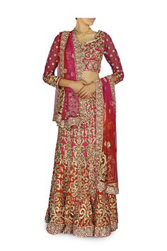 This pink color Bridal Lehenga Chaniya choli is of georgette fabric embellished with zari embroidered patterns and stone work is available at discounted price