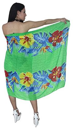 Sarong Bathing Suit Swimsuit Swimwear Beach Bikini Cover Up Printed Chiffon  359 Green Free Size One