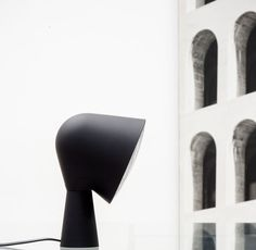 BLACK BINIC table lamp by Ionna Vautrin for FOSCARINI, limited edition for the 10 by Yatzer debut collection/ Batch-dyed polycarbonate and ABS / 14 cm W x 20 cm H, 14 cm depth / Edition of 100. Styling by Costas Voyatzis, photo by Fabrizio Annibali.