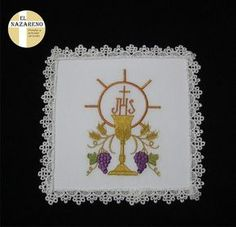Machine Embroidery Applique, Embroidery Patterns, Cross Stitch Patterns, Embroidery Stitches, Catholic Prayers Daily, Biscuit Quilt, Jesus Book, Première Communion, Altar Cloth