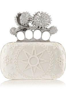 Alexander McQueen Knuckle Duster Conker embellished satin box clutch | NET-A-PORTER