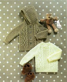 baby / childs aran jacket sweater knitting pattern pdf cable hooded jacket cable jumper cardigan with hood vintage 18-26 aran worsted 10ply by Minihobo on Etsy