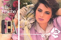 Lancome ad with Isabella Fraiche. I remember this ad so well. 1983. I was obsessed with the lilac lipstick color.