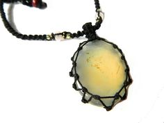 RESERVED for Mercedes CALCITE macrame Necklace by EarthCultured, $40.00