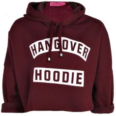 Lexi Hangover Slogan Oversized Crop Hoodie ($28) ❤ liked on Polyvore featuring tops, hoodies, jackets, shirts, sweaters, sweatshirts hoodies, red shirt, hooded pullover, shirt hoodie and hoodie crop top