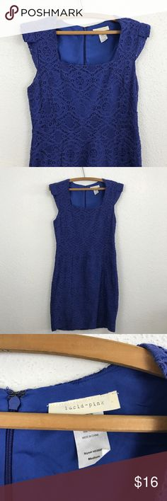"""Gorgeous Lace Overlay Short Sleeve Dress Not Anthropologie-  Gorgeous Lace Dress!  Size Medium  -Length 36"""" -Pit to pit 18"""" Excellent condition!  Gorgeous Blue Color Anthropologie Dresses Mini"""
