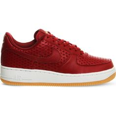NIKE Air Force 1 '07 leather trainers ($115) ❤ liked on Polyvore featuring shoes, sneakers, noble red cut, leather sneakers, red leather shoes, red shoes, lace up sneakers and round cap