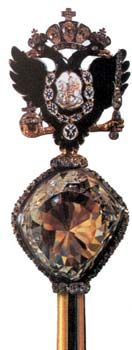 The Imperial Sceptre, viewed from straight-on. The Orlov is surrounded  by a row of small Old Mine cut diamonds.
