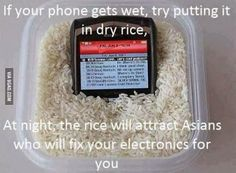 """""""Your phone gets wet, try placing it in dry rice. Overnight the rice will attract Asians who will fix your electronics for you"""""""