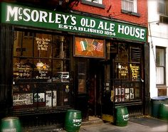 McSorleys Old Ale House,NYC-One of the greatest pubs in N.Y.and certainly one of the oldest. Nothing cozier than McSorleys on a cold winter night-they serve light or dark mugs of beer, two at a time. Yup, that's right, one 'order' of beer is TWO  mugs-can't beat it. The woods warped from 156yrs of spilled beer, fixtures are covered with dust so thick the original shape is no longer discernible and newspaper clippings hang yellowed and curled next to framed historic NYC jewels- gotta love it!