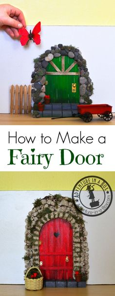 Add a little bit of whimsical magic to your playroom decor by making an indoor fairy door! All you really need for this DIY project is craft sticks, pebbles and glue. Diy Fairy Door, Fairy Garden Doors, Fairy Doors, Diy Door, Fairy Gardens, Miniature Gardens, Diy Fairy House, Fairies Garden, Mini Gardens