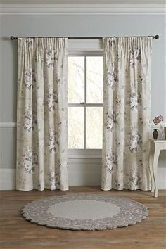 Buy Mauve Floral Poetry Printed Pencil Pleat Curtains from the Next UK online shop