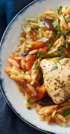 Mediterranean Chicken & Orzo This is one of my go to favorites and it has such a low sodium content and high fiber content it is such a h...