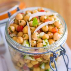 This crisp and refreshing chickpea lunch salad in a jar is about to make your work week a thousand percent better!