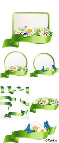 Весенние рамки с цветами и зелеными лентами - векторный клипарт