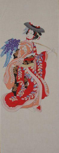 Cotton Japanese Tenugui Cloth Wisteria Maiden Motif