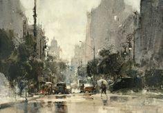 【下雨天 / Rainy day】 37 x 27 cm, Watercolor demo by 簡忠威 (Chien Chung-Wei)