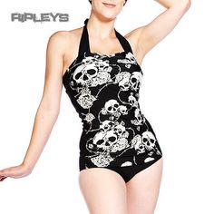 BANNED Bikini Black SWIMSUIT Tankini SKULLS ROSES Goth White All Sizes #Banned $45
