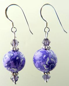 English Lavender Single Ball Crystal Polymer Clay Earrings - Marion | Snazzy Beads: Handmade Clay Jewelry, Polymer Clay Bracelets, Polymer Clay Earrings and Polymer Clay Necklaces