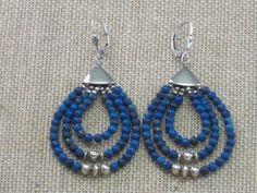Jay King Mine Finds Sterling Blue Lapis Lazuli 3 Hoop Bead Leverback Earrings #JayKing #Hoop