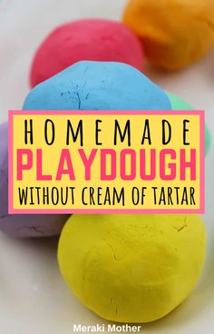 This is the easiest playdough recipe you will find, plus it's no bake AND without cream of tartar! The best homemade, diy sensory activity for kids! Craft Projects For Kids, Crafts For Teens, Diy For Kids, 3 Kids, Art Projects, Craft Ideas, Children, Fine Motor Activities For Kids, Sensory Activities