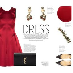 A fashion look from December 2016 featuring Emporio Armani dresses, Christian Louboutin pumps and Yves Saint Laurent clutches. Browse and shop related looks. Party Dress Outfits, Evening Outfits, Dress Party, Cute Work Outfits, Dressy Outfits, Red Frock, Wedding Guest Looks, Gowns Of Elegance, Elegant Gowns
