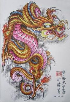 colored japanese dragon tattoo - Google Search