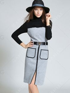 Long Sleeve Work Dress with Pockets