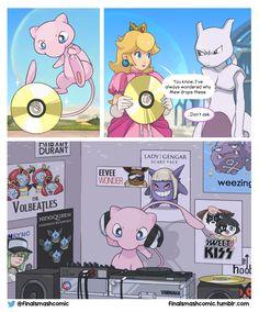 Why Mew drops CDs in Smash Bros! How many Pokémon references can you spot? Pokemon Mew, Mew And Mewtwo, Pokemon Comics, Pokemon Funny, Pikachu, Pokemon Stuff, Super Smash Bros Memes, Nintendo Super Smash Bros, Video Games Funny
