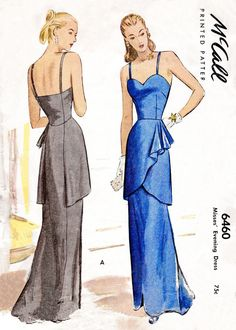 McCall 6460 1940s evening gown vintage sewing pattern reproduction