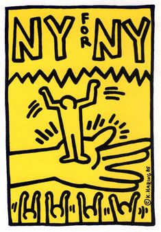 From Lot Keith Haring, Keith Haring illustrated 1985 announcement (Keith Haring 'NY for NY') Off-set print, 7 × 15 in Keith Haring Poster, Keith Haring Art, Pop Art Posters, Poster Prints, Principles Of Art, Renaissance Art, Art Quotes, Illustration, Design Art