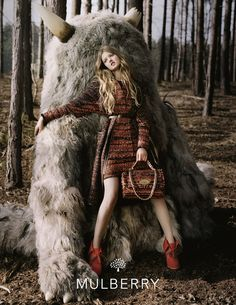 Mulberry's Autumn/Winter 2012 Ad Campaign shot by British photographer Tim Walker. Model Lindsey Wixson was shot wearing key looks from the Autumn/Winter 2012 collection and accessorized with Mulberry's latest bag icons Del Rey, Maisie and the new embellished Alexa Zig Zag Bag.
