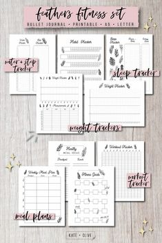 Bullet Journal FITNESS Set of printable planners – Insert templates Planner Inserts, Planner Template, Printable Planner, Printables, Save Yourself, Improve Yourself, Tacker, Building Quotes, Printable Workouts