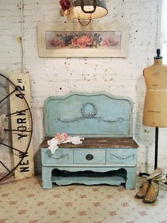 Painted Cottage Chic Shabby Aqua Farmhouse by paintedcottages, $325.00