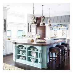 Colorful Kitchen Islands. LOVE this! and those pendant lights?? NEED! Check out Dieting Digest More