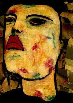 """Saatchi Online Artist CARMEN LUNA; Mixed Media, """"9- RETRATOS Expresionistas.  Rebelde."""" #art http://www.saatchionline.com/art-collection/Mixed-Media-Painting-Assemblage-Collage/RETRATOS-Expresionistas/71968/51263/view"""