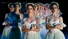 Artists of Compañía Nacional de Danza as the Wilis in Act 2 of Giselle. Photo by Carlos Quezada