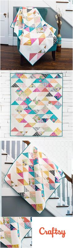 Sacramento Quilt Kit featuring FreeSpirit CaliMod by Joel Dewberry for Craftsy.com. This fun and modern half square triangle quilt kit includes the fabric and quilt pattern to make your own quilt. Modern Quilt Pattern. Affiliate link.
