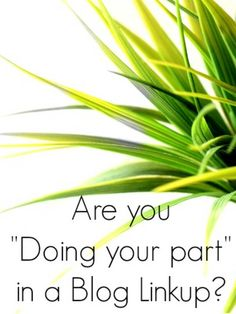 """Are you """"doing your part"""" when you enter a blog linkup?"""