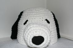 Handmade dog hat white with black ears inspired by theheadsaid
