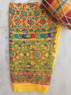 Shop Red and Yellow Phulkari handembroidered Bottom/Salwar fabric Salwar Pants, Fabric Online, Cotton Dresses, Hand Embroidery, Yellow, Red, Stuff To Buy, Women's Fashion, Products