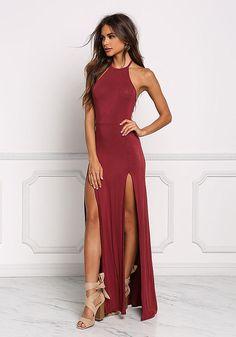 Burgundy Two Slit Halter Maxi Dress - New