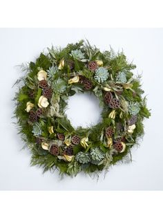 36 in. Pre-Lit Artificial Christmas Wreath w/ Pine Cones/Berries 70 LED Lights Artificial Garland, Artificial Christmas Wreaths, Christmas Wreaths For Front Door, Gold Christmas Decorations, Christmas Ideas, Flower Ornaments, Hanging Ornaments, Succulent Wreath, Frame Wreath