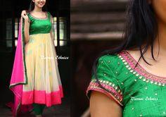 Simple Anarkali, Aari Work Blouse, Indian Gowns Dresses, Indian Designer Outfits, Anarkali Suits, Saree Blouse, Designer Wear, Blouse Designs, Women Wear