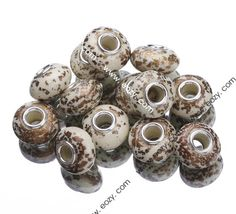 10x15mm White Gold Painting Porcelain 925 Sterling Silver Core European Charms Beads Fit Bracelet #eozy