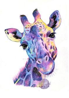 Galaxy Giraffe by Thalie-Na on DeviantArt Cool Art Drawings, Animal Drawings, Art Sketches, Giraffe Painting, Giraffe Art, Cartoon Giraffe, Watercolor Animals, Watercolor Paintings, Giraffe Tattoos