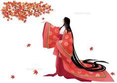 Heian era of women fall (c) Yoshida Akira / a.collectionRF A woman dressed in junihitoe